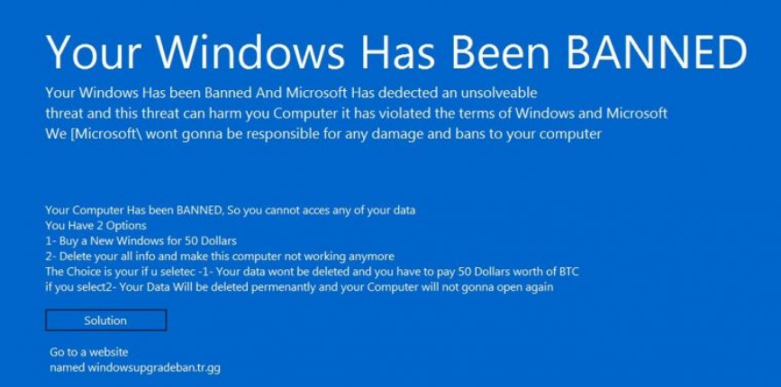 Malware Alert: Your Windows Has Been Banned